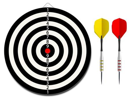 javelin: Vector dartboard with two darts on white background