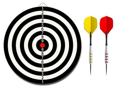 lanzamiento de jabalina: Vector diana con dos dardos en el fondo blanco