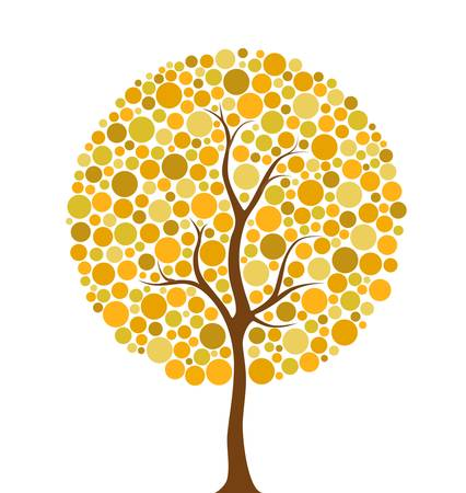 Vector illustration of multicolored autumn circles tree Vector