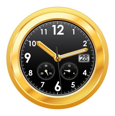 gold watch: illustration of gold watch with black face Illustration