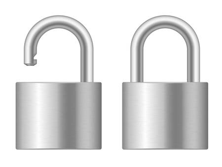 safe lock: illustration of open and closed padlocks