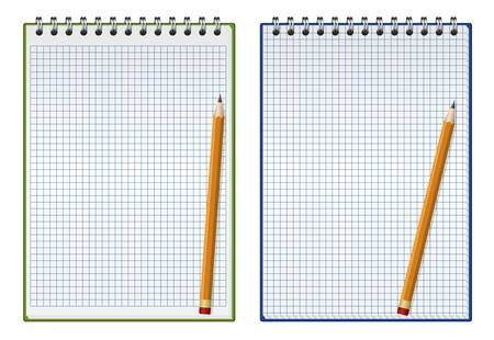 illustration of squared notepad with pencil Vector