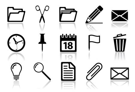 office buttons: Office icon set. illustration of different interface web icons Illustration