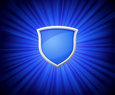 illustration of blue shield on rays background Vector