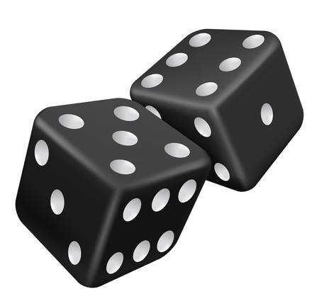 rolling: illustration of two black dice Illustration