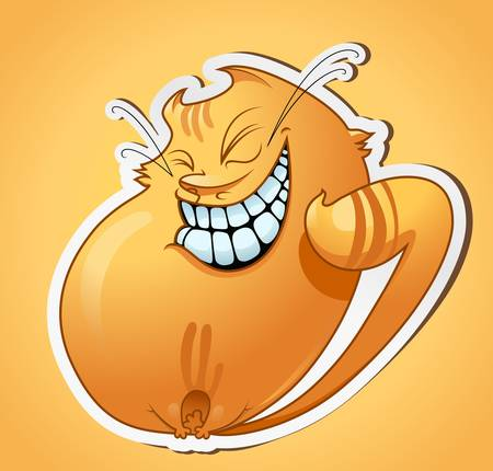 illustration of smiling cat on gradient background Vector