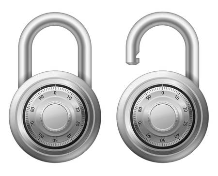combination:  illustration of padlock with combination lock wheel