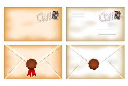 old envelope: illustration of back and front view vintage envelopes with blank wax seal