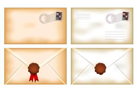 envelope with letter: illustrazione di schiena e la facciata buste d'epoca con sigillo di cera vuota