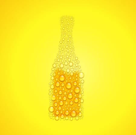Vector illustration of bottle from water drops on orange background Vector