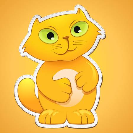 pussy yellow:  illustration of cute cat on gradient background
