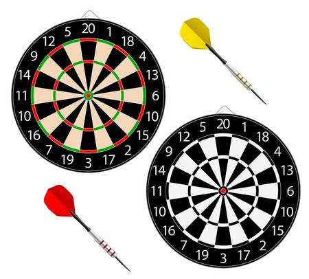 Vector dartboards isolated on white background. With meshes.