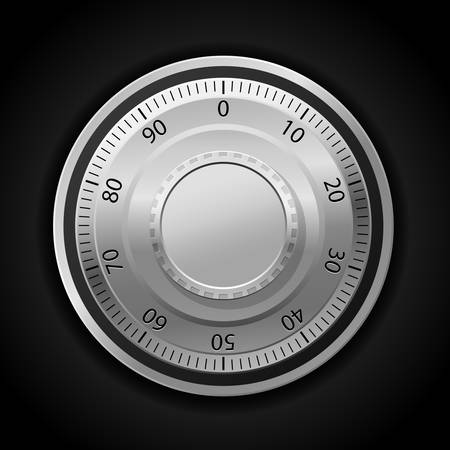 safe lock: illustration of combination lock wheel dark background