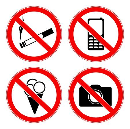forbidden pictogram: illustration of four prohibited signs