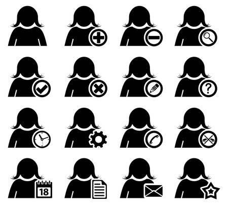 Set of management and administration female icons Vector