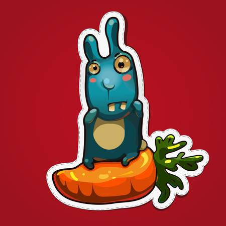 greediness: Vector illustration of rabbit sit on big carrot on gradient background