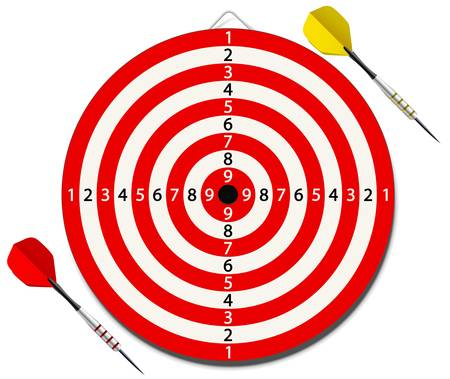 dart board: illustration of red lined dartboard with two darts