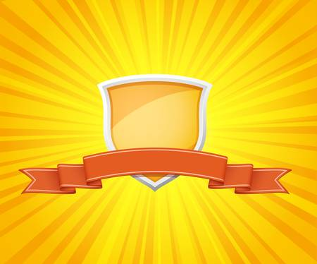 yellow ribbon: illustration of shield with red ribbon for message on sunrays background