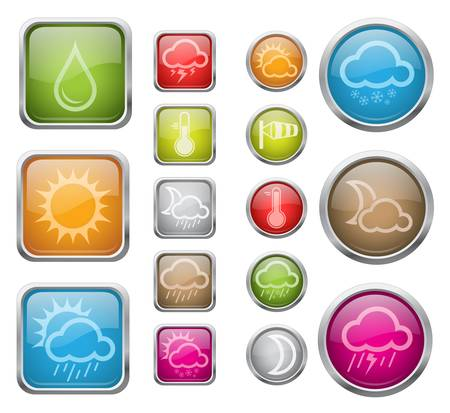 day forecast: illustration of glossy buttons with weather sign icons