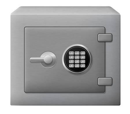 bank deposit: illustration of isolated steel safe box