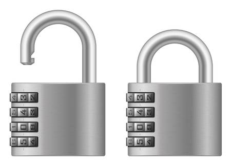 Vector illustration of padlock with numeral combination lock wheel Vector