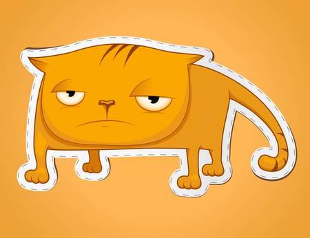 morose: Vector illustration of sad cat on gradient background Illustration