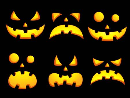 Set of vector icons of halloween smiley faces Vector