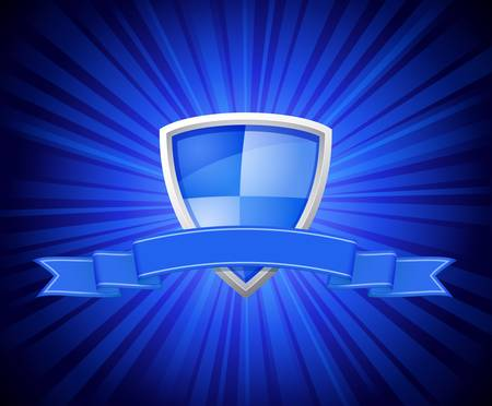 Vector illustration of shield with blue ribbon for message on starburst background Vector