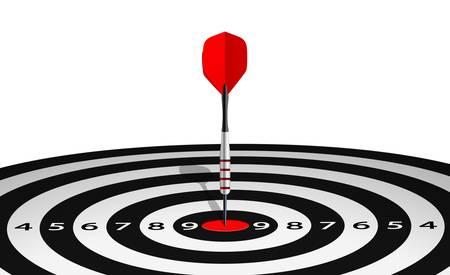 lanzamiento de jabalina: Ilustración vectorial de dardo en el ojo de buey de diana forrado