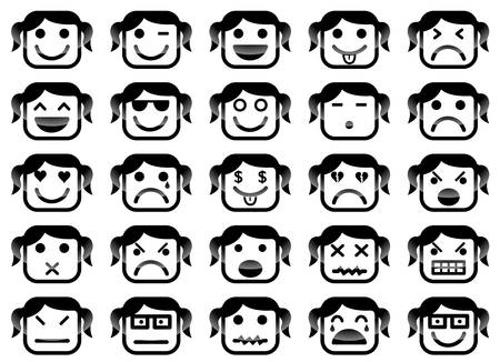 upset woman: Vector icons of girl smiley faces Illustration