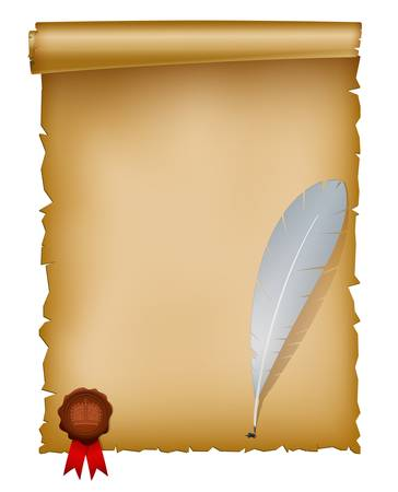 post scripts: Vector illustration of old paper sheet with feather and seal wax stamp. EPS 10 with mesh.