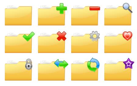 edit icon: illustration of yellow interface folder management and administration icons Illustration