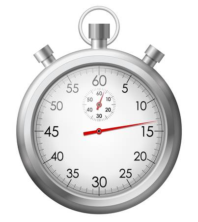 stopwatch: illustration of isolated chrome stop watch