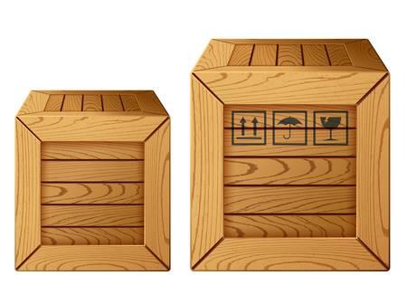 verhuis dozen: illustratie van houten kist pictogram
