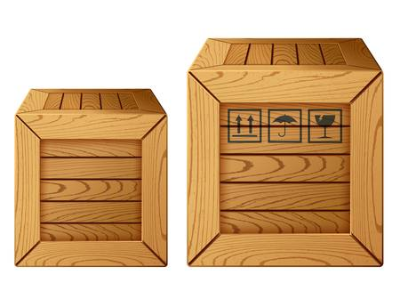 packing boxes:  illustration of wooden box icon