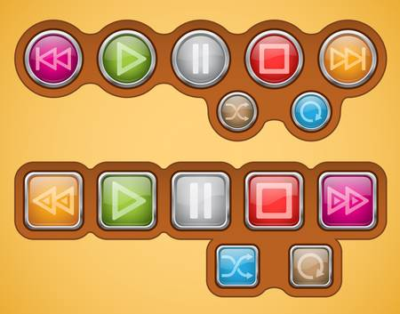 glossy buttons with multimedia sign icons Vector
