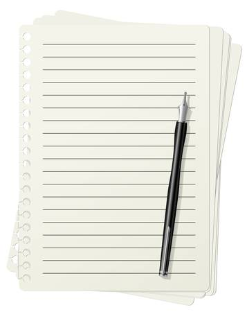 note pad and pen: illustration of lined paper sheets and fountain pen Illustration