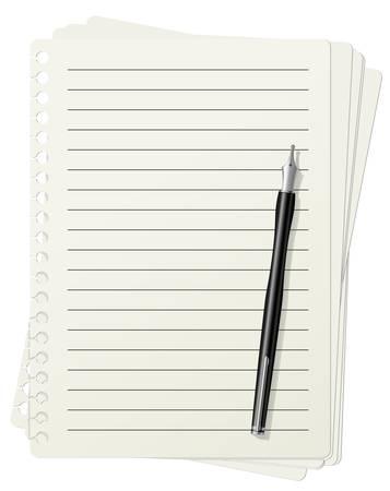 carta da lettere: Illustrazione dei fogli di carta a righe e penna stilografica