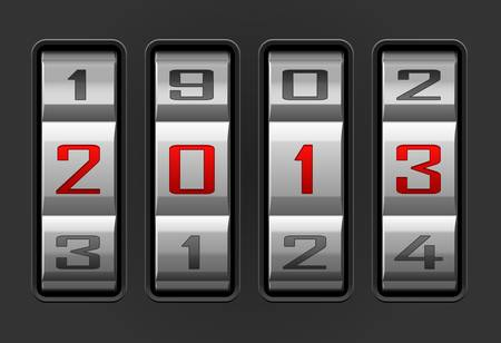 illustration of 2013 year combination lock  Vector