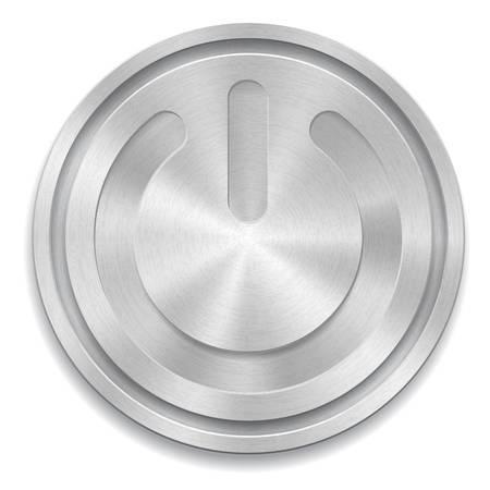 metaal: illustratie van metalen ronde knop met kracht teken Stock Illustratie
