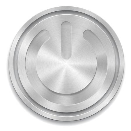 metal: illustration of metal rounded button with power sign Illustration