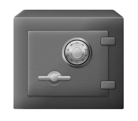 illustration of isolated dark steel safe box Stock Vector - 16059574