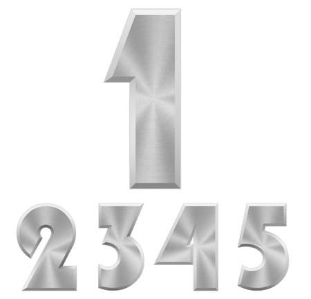 numero uno: ilustración de cromo números metálicos.