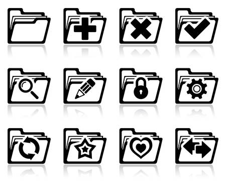 edit button: illustration of interface folder management and administration icons Illustration