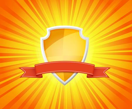 Vector illustration of shield with red ribbon for message on sunrays background Illustration