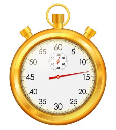 countdown timer: Vector illustration of isolated golden stop watch