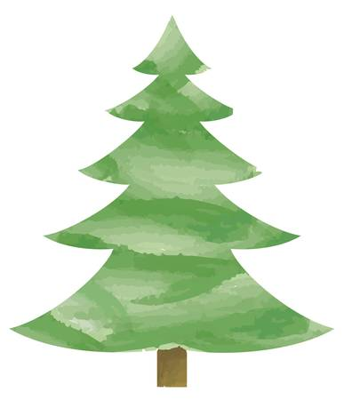 aquarel: Vector illustration of fir tree Illustration