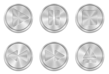 Vector illustration of vector metal buttons with multimedia sign icons Vector