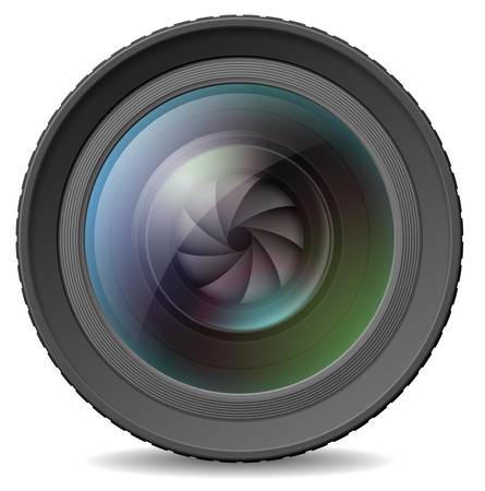 Vector illustration of photocamera lens with shutter Vector