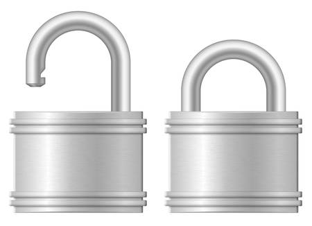 Vector illustration of open and closed padlocks Stock Vector - 16494530